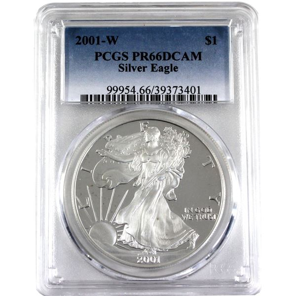 2001-W United States 1oz .999 Fine Silver Proof Eagle PCGS Certified PR-66; Deep Cameo (Tax Exempt)