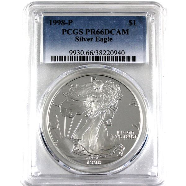1998-P United States 1oz .999 Fine Silver Proof Eagle PCGS Certified PR-66; Deep Cameo (Tax Exempt)