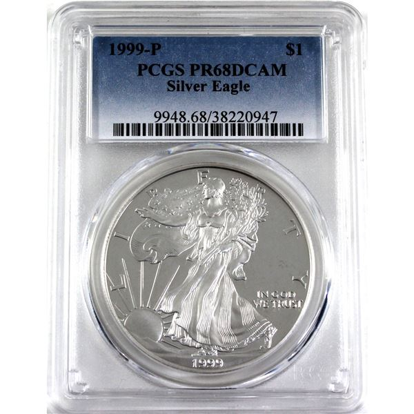 1999-P United States 1oz .999 Fine Silver Proof Eagle PCGS Certified PR-68; Deep Cameo (Tax Exempt)