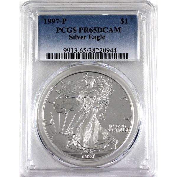 1997-P United States 1oz .999 Fine Silver Proof Eagle PCGS Certified PR-65; Deep Cameo (Tax Exempt)