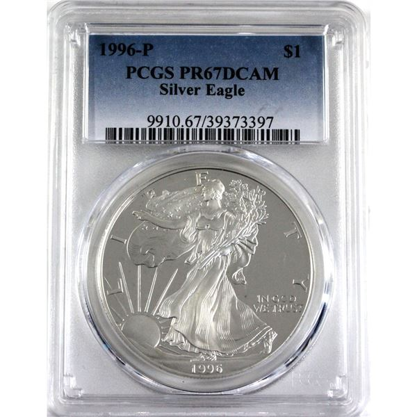 1996-P United States 1oz .999 Fine Silver Proof Eagle PCGS Certified PR-67; Deep Cameo (Tax Exempt)