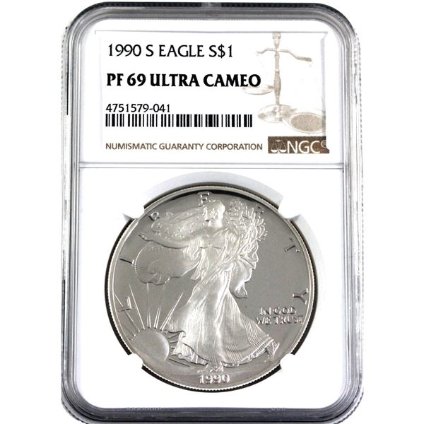 1990-S United States 1oz .999 Fine Silver Eagle NGC Certified PR-69; Ultra Cameo.(Tax Exempt)