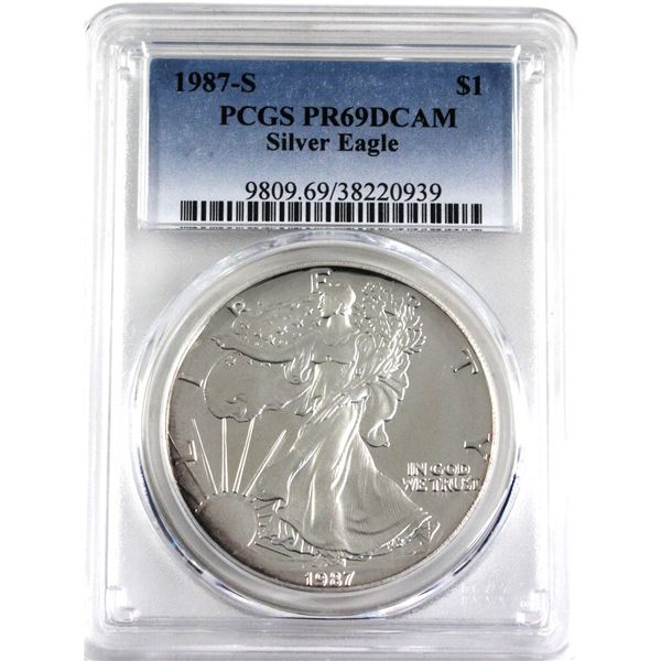 1987-S United States 1oz .999 Fine Silver  Eagle PCGS Certified PR-69; Deep Cameo.(Tax Exempt)
