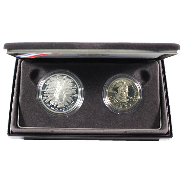 1989 United States Congressional 2-coin Proof set with 90% Silver Dollar and Clad 50-cent Piece. Coi