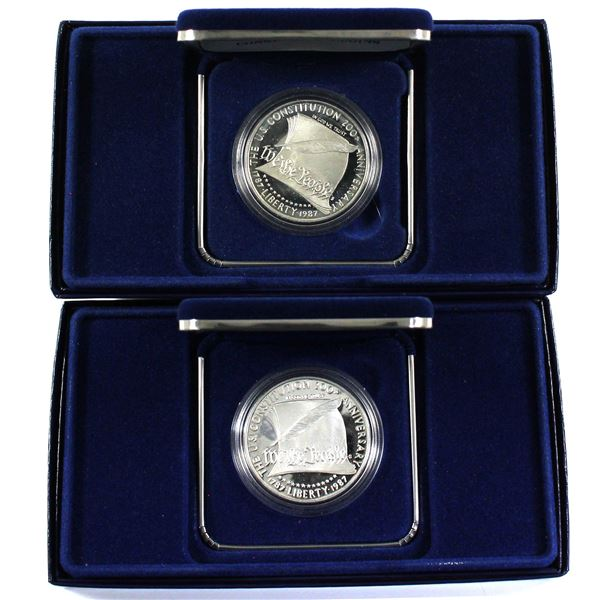 Pair of 1987 United States 200th Anniv. Of the U.S Constitution Uncirculated Dollar. Coins come with