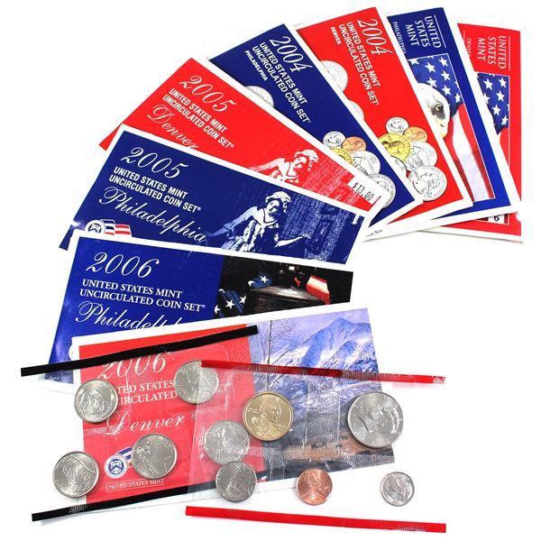 2003-2006 USA P& D Uncirculated Mint set. Coins come in the original mint envelopes, envelopes conta