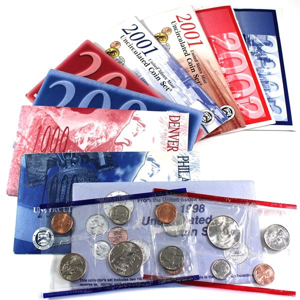 1998-2002 USA P& D Uncirculated Mint set. Coins come in the original mint envelopes, envelopes conta