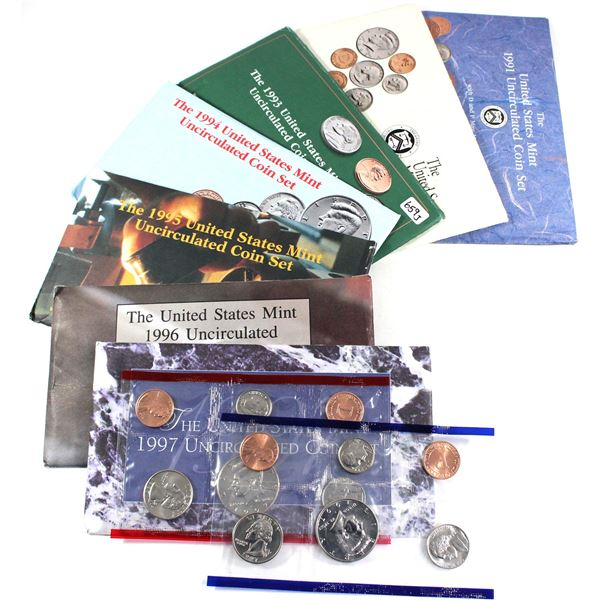 1991-1997 USA P& D Uncirculated Mint set. Coins come in the original mint envelopes, envelopes conta