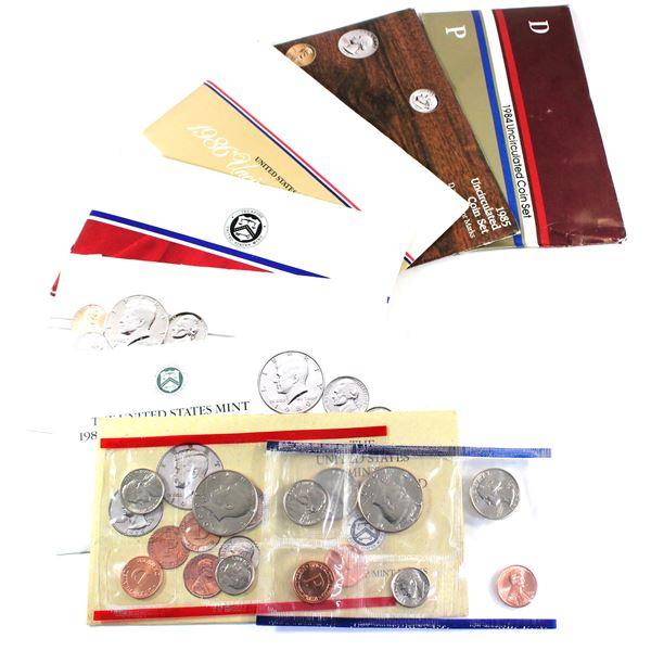 1984-1990 USA P& D Uncirculated Mint set. Coins come in the original mint envelopes, envelopes conta