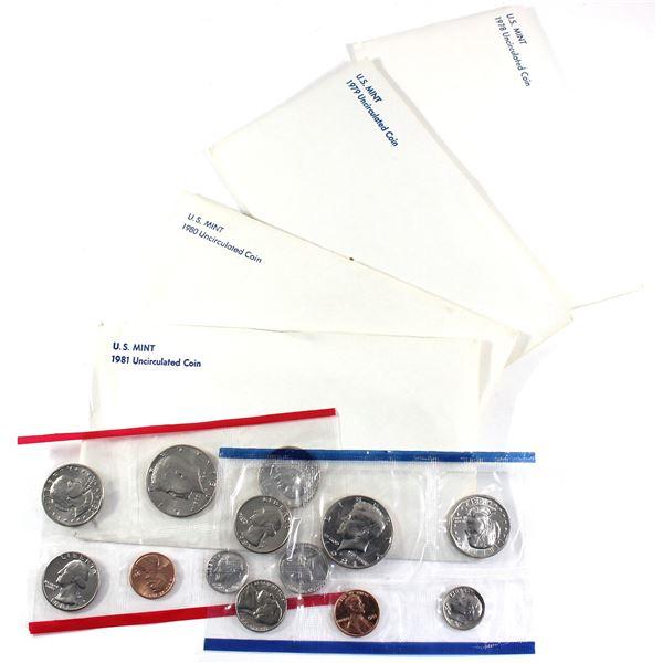 1978,1979, 1980 & 1981 USA P& D Uncirculated Mint set. Coins come in the original mint envelopes, en