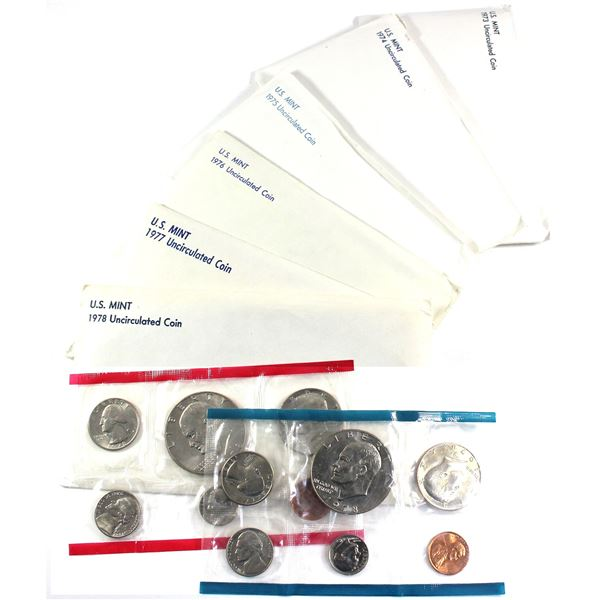 1973, 1974, 1975, 1976, 1977 & 1978 USA P& D Uncirculated Mint set. Coins come in the original mint