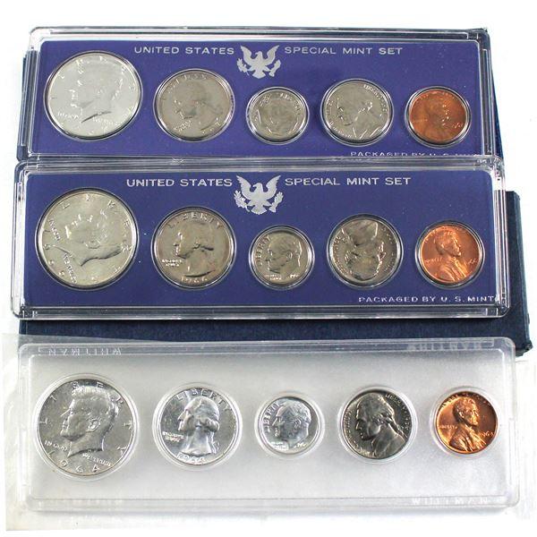 1964,1966 & 1967 United States Silver year Set. 3pcs