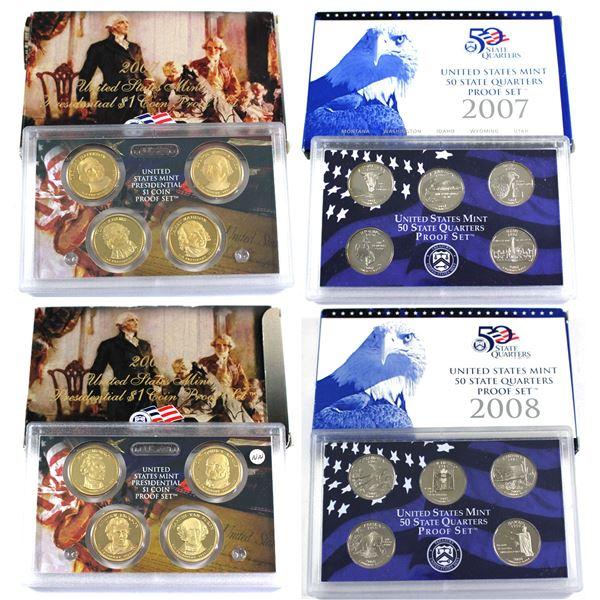 2007 & 2008 Presidential Dollar Proof set & 50 State quarter proof set. 4 sets