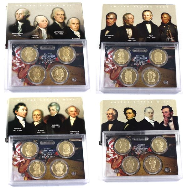 2007,2008,2009 & 2010 USA Presidential Dollar proof coin sets. 4 sets