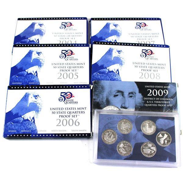 2004,2005,2006,2007,2008  & 2009 USA mint 50 quarters proof 5-coin sets. 6 sets