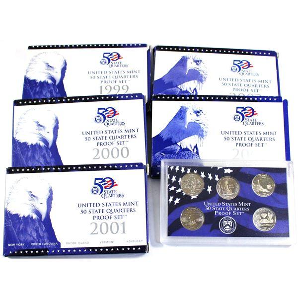 1999, 2000,2001,2002 & 2003 USA mint 50 quarters proof 5-coin sets. 5 sets