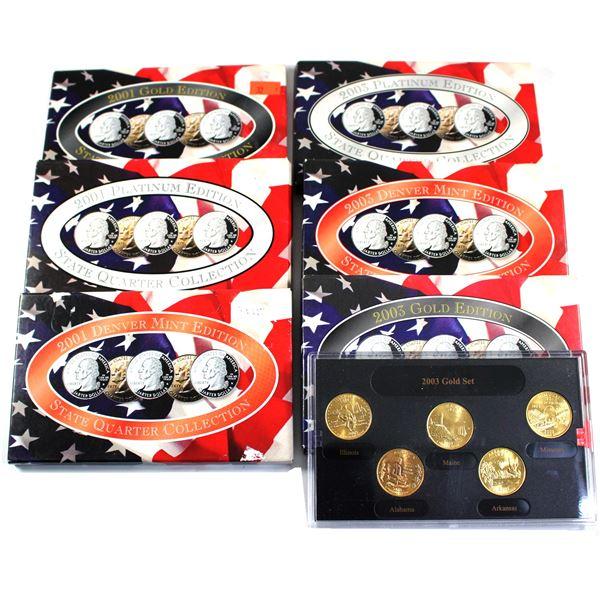 2001 & 2003 State Quarter Collection Philadelphia/Denver Mint Platinumedition collection. 6 sets