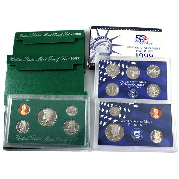 1996, 1997, 1998 & 1999 United States Proof sets with original box and COA. 4 sets