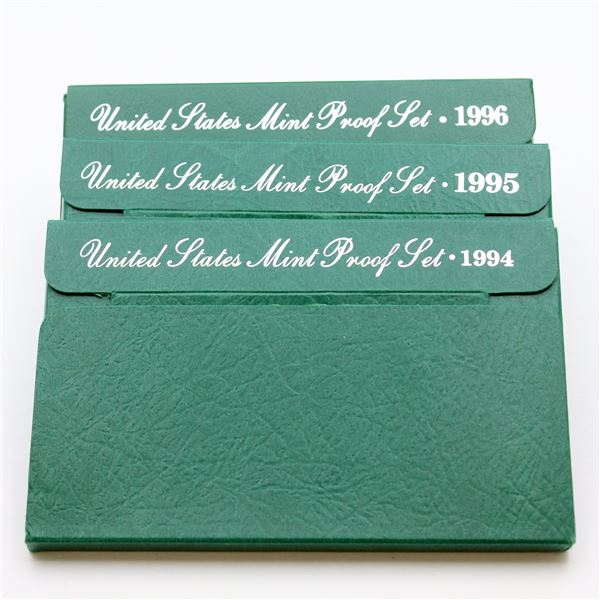 1994,1995 & 1996 United States Proof sets with original box and COA. 3 sets