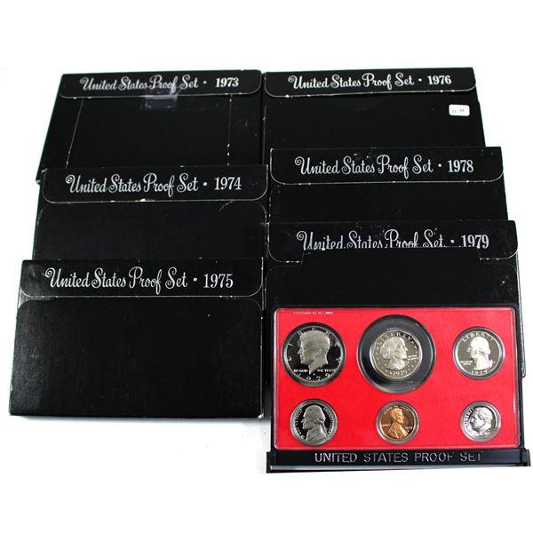 1973,1974,1975,1976,1978 & 1979 United States proof sets. 6 sets