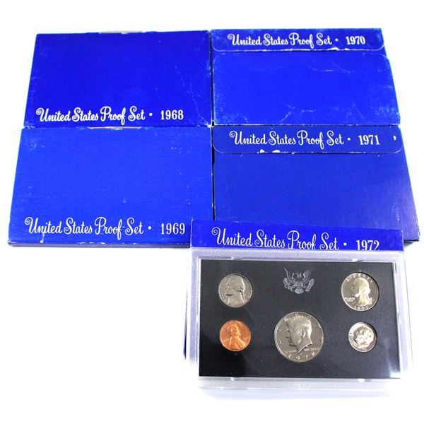 1968,1969,1970,1971 & 1972 United States proof sets. 5 sets
