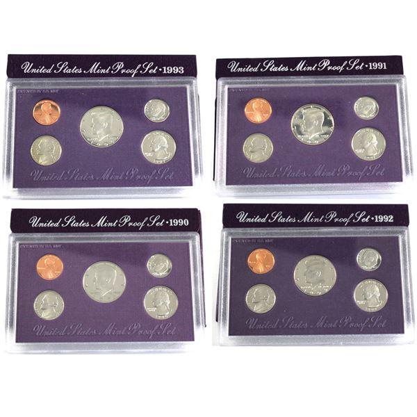 1990,1991,1992 & 1993 United States Proof set with original box and  COA. 4pcs