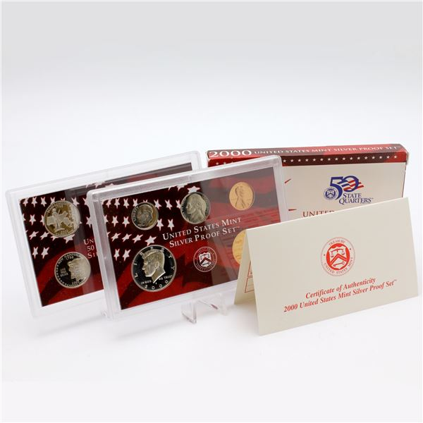 2000 United States mint 10-coin Silver Proof set with original box and COA
