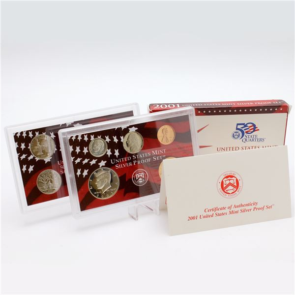 2001 United States mint 10-coin Silver Proof set with original box and COA