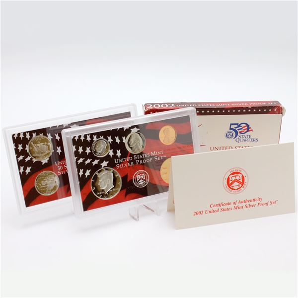 2002 United States mint 10-coin Silver Proof set with original box and COA