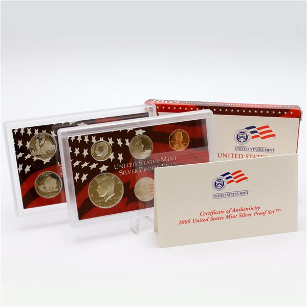 2005 United States mint 10-coin Silver Proof set with original box and COA