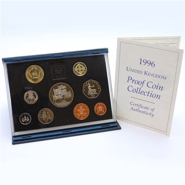 1996 United Kingdom Deluxe Proof set in original display. Coins are toned and Inner lining is starti