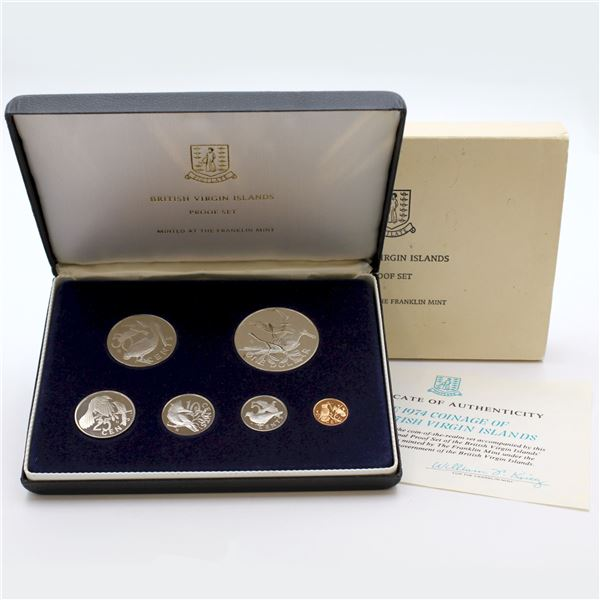 1974 British Virgin Islands Proof Sets in Original  display box. The dollar in this set is Sterling