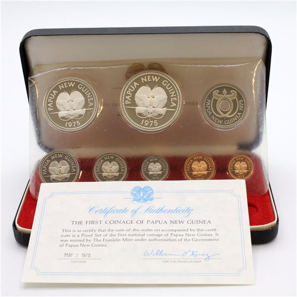 1975 Coinage of Papua New Guinea 8-coin Proof Set. This set contains the first coins struck by Papua