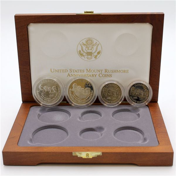 1991 Mount Rushmore anniversary set with spot for the 2x $5 gold. This set contains two clad half do