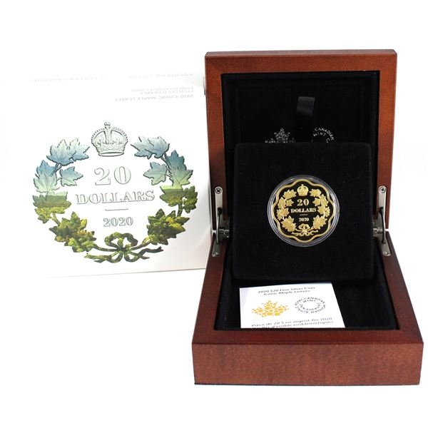 2020 Canada $20 Masters Club Iconic Maple Leaves Fine Silver Gold Plated Coin (Capsule lightly scrat