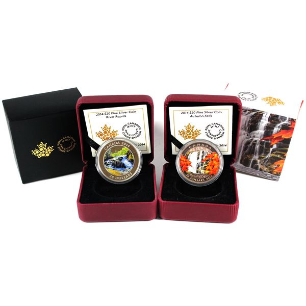 2014 Canada $20 River Rapids & 2014 $20 Autumn Falls Fine Silver Coins (Capsules lightly scratched &