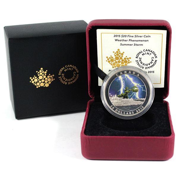 2015 Canada $20 Weather Phenomenon - Summer Storm Fine Silver Coin. TAX Exempt)