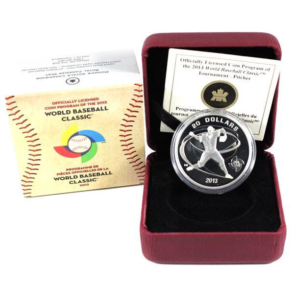 2013 Canada $20 World Baseball Classic - Pitcher Fine Silver Coin. TAX Exempt