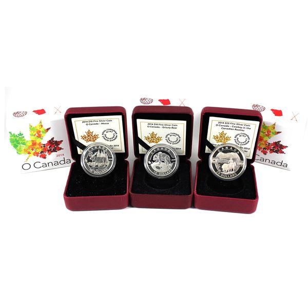 2014 O Canada $25 & $10 Fine Silver Coins - $25 Cowboy in the Canadian Rockies, $10 Moose & $10 Griz