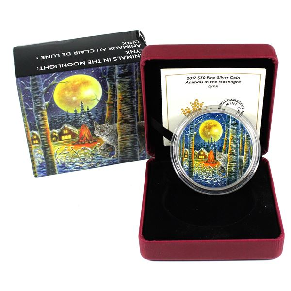 2017 Canada $30 Animals in the Moonlight - Lynx Fine Silver Coin. TAX Exempt