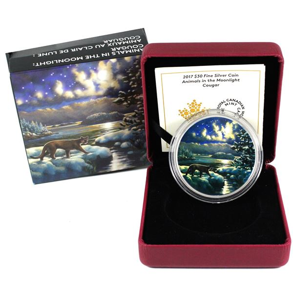 2017 Canada $30 Animals in the Moonlight - Cougar Fine Silver Coin. TAX Exempt