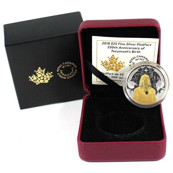 2018 Canada $25 Piedfort 250th Anniversary of Tecumseh's Birth Fine Silver Coin. TAX Exempt
