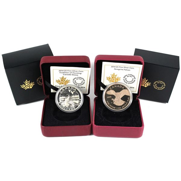 2014 Canada $5 Tradition of Hunting - Canada Goose & 2014 $5 Peregrine Falcon. 2pcs (TAX Exempt)