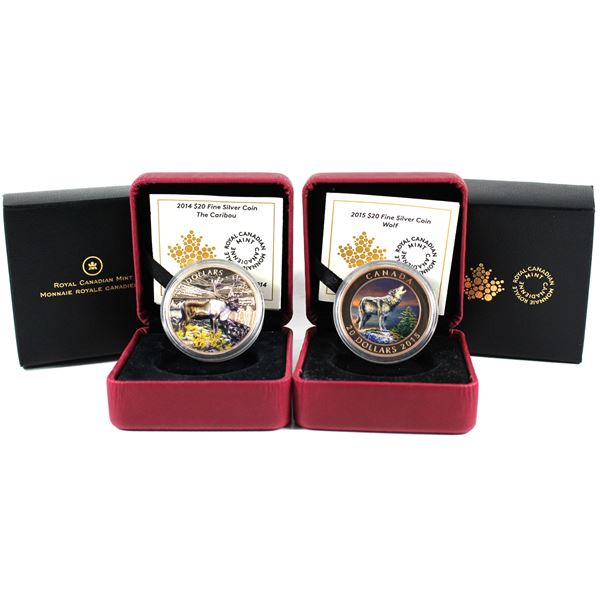 2014 Canada $20 The Caribou & 2015 $20 The Wolf Fine Silver Colourized Coins (Coins are toned & 2014
