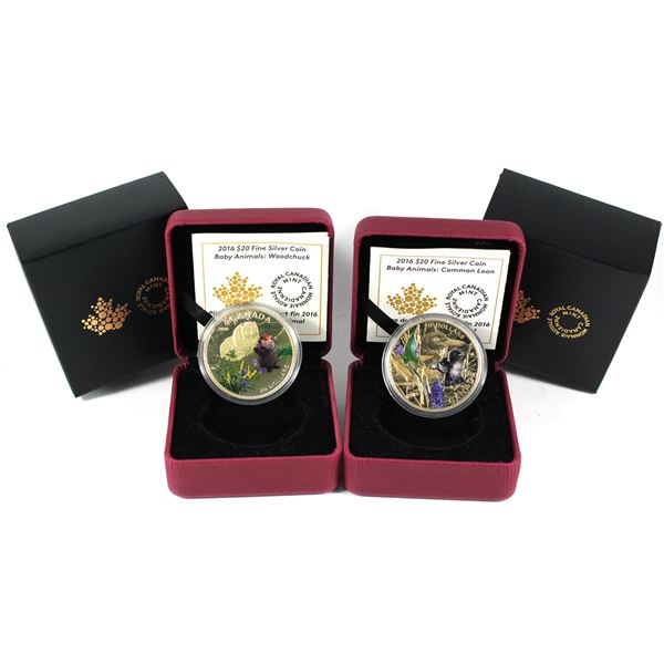 2016 Canada $20 Baby Animals - The Woodchuck & Common Loon Fine Silver Coins. 2pcs (TAX Exempt)