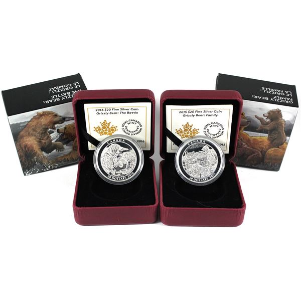 2016 Canada $20 Grizzly Bear - The Battle & Family Fine Silver Coins. 2pcs (TAX Exempt)