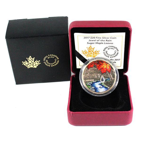 2017 Canada $20 Jewel of the Rain - Sugar Maple Leaves Fine Silver Coin.
