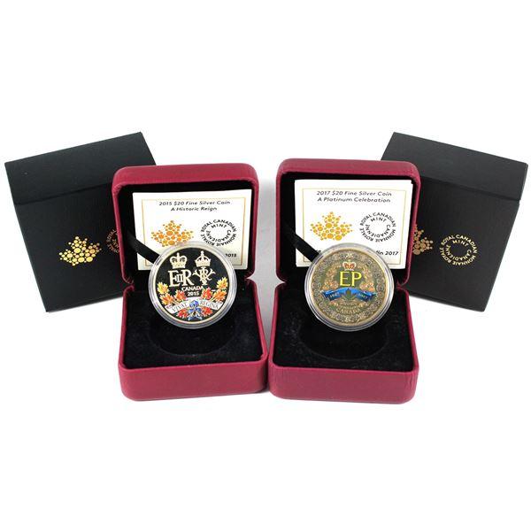 2015 Canada $20 A Historic Reign & 2017 $20 A Platinum Celebration Fine Silver (2015 capsule cracked