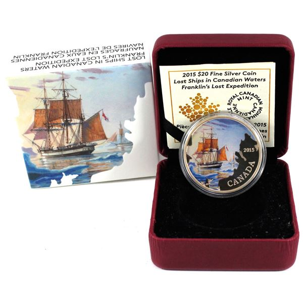2015 $20 Lost Ships in Canadian Waters - Franklin's Lost Expedition Fine Silver Coin. TAX Exempt