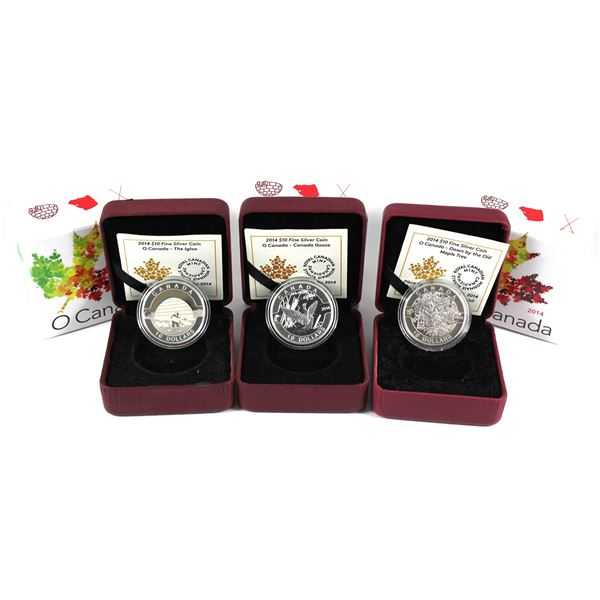 2014 O Canada $10 Fine Silver Coins - Canada Goose, The Igloo & Down By the Old Maple Tree. 3pcs (TA